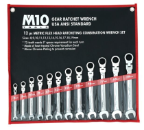 M10 12FR Gear Ratchet Flex Combination Wrench SET